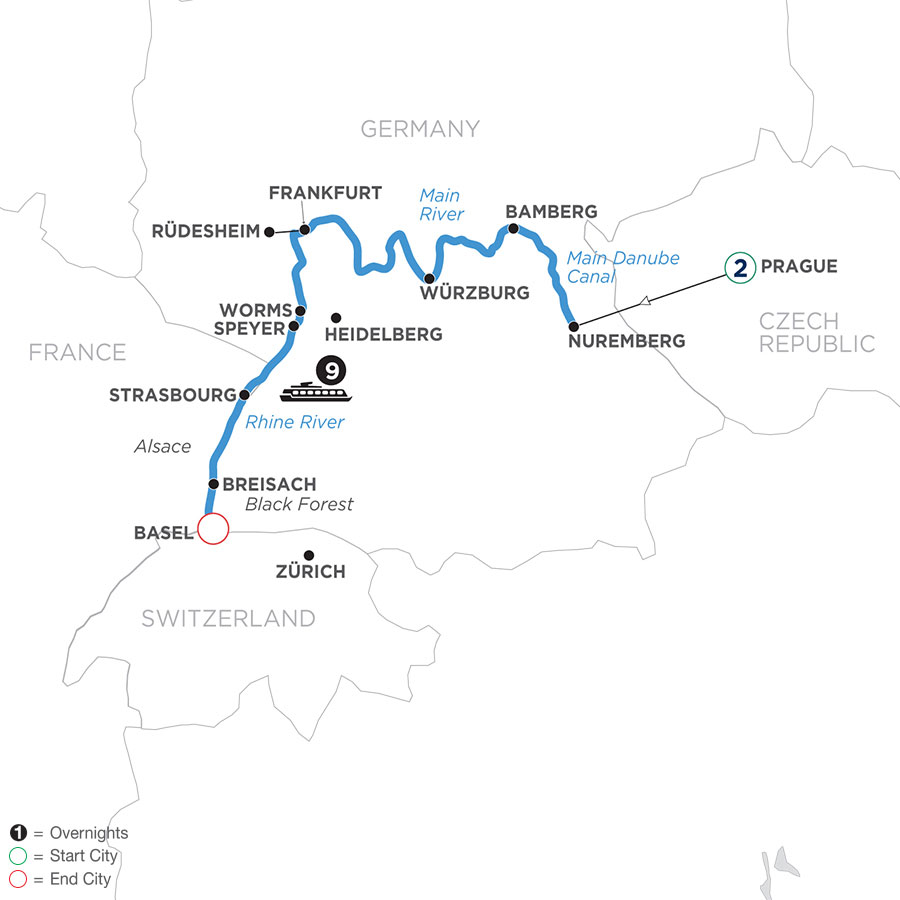 River Cruise Map of Christmastime from Nuremberg to Basel with 2 Nights in Prague