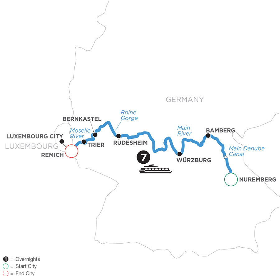 River Cruise Map of Once upon Three Rivers: the Rhine, Moselle & Main
