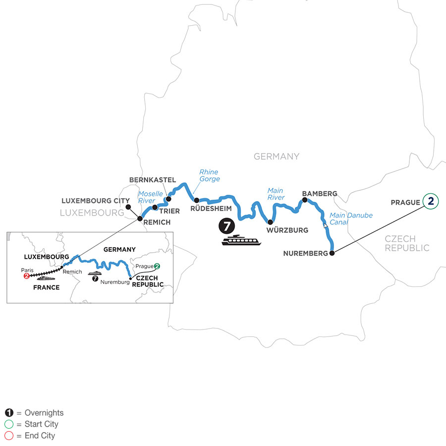 River Cruise Map of Once upon Three Rivers: the Rhine, Moselle & Main with 2 nights in Prague and 2 nights in Paris