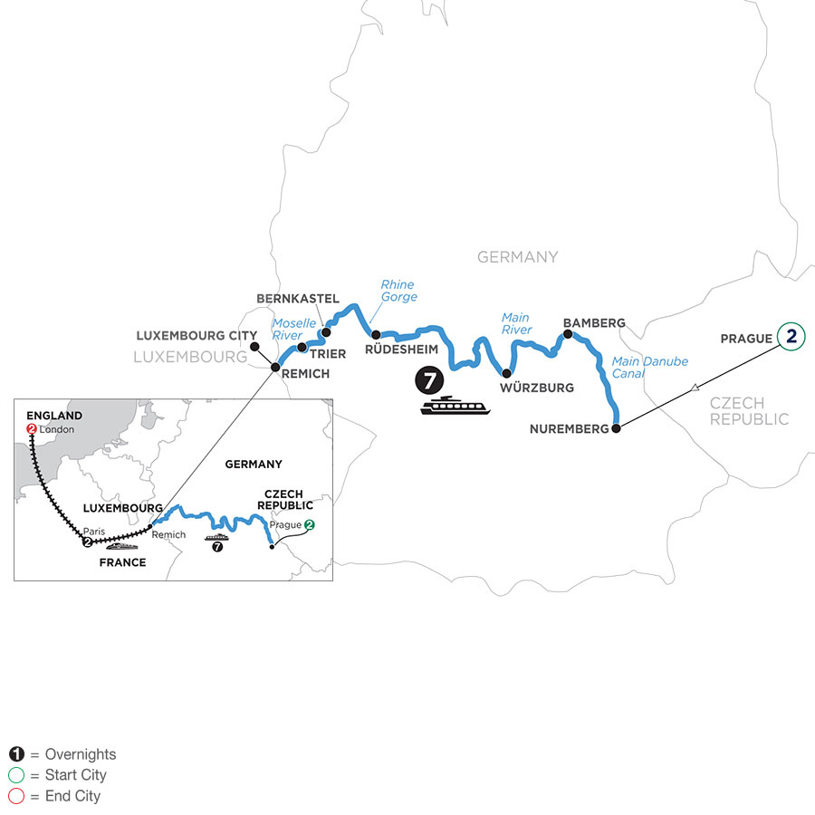 River Cruise Map of Once upon Three Rivers: the Rhine, Moselle & Main with 2 nights in Prague, 2 nights in Paris and 2 nights in London