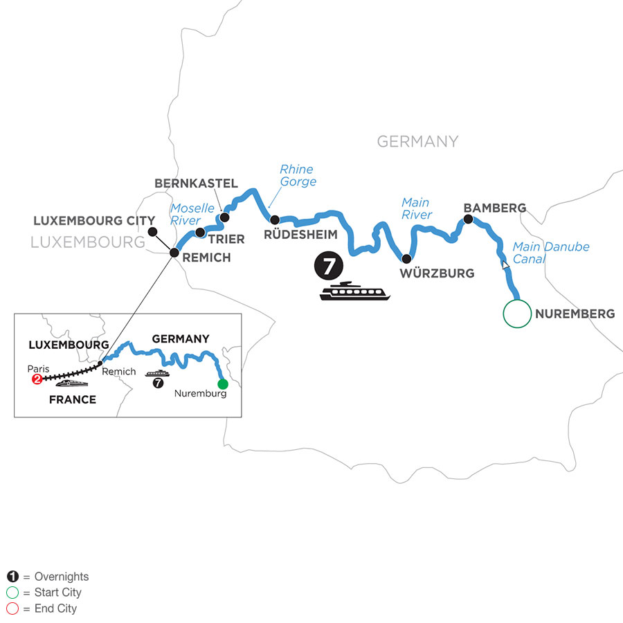 River Cruise Map of Once upon Three Rivers: the Rhine, Moselle & Main with 2 nights in Paris for Photography Enthusiasts