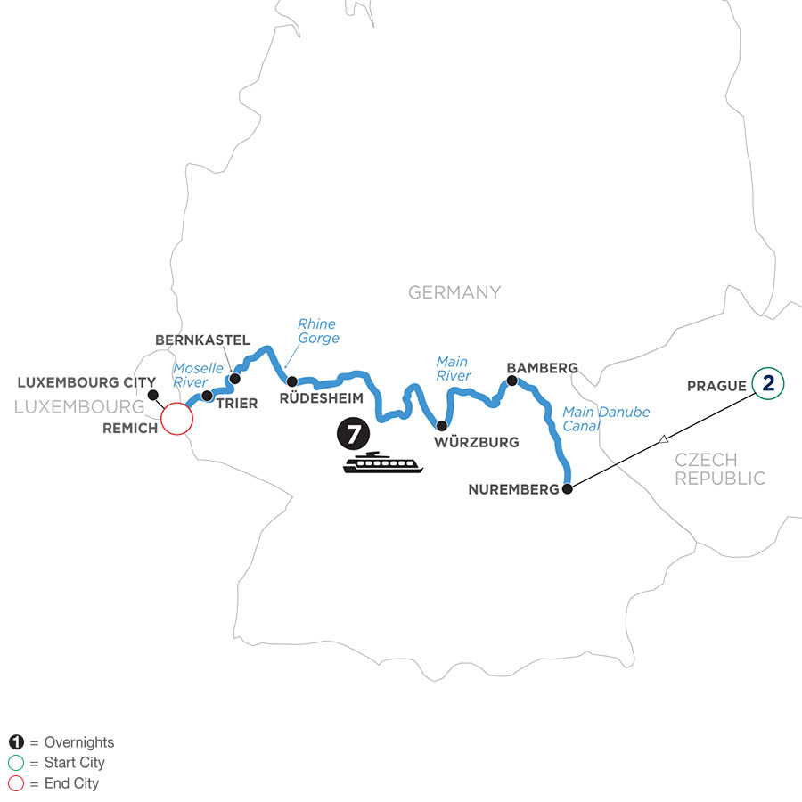 River Cruise Map of Once upon Three Rivers: the Rhine, Moselle & Main with 2 nights in Prague