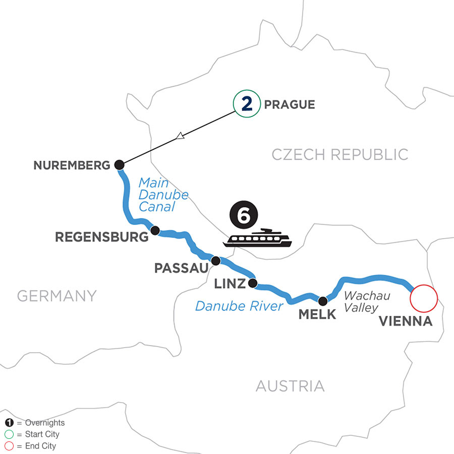 River Cruise Map of Christmastime on the Danube with 2 Nights in Prague (Eastbound)