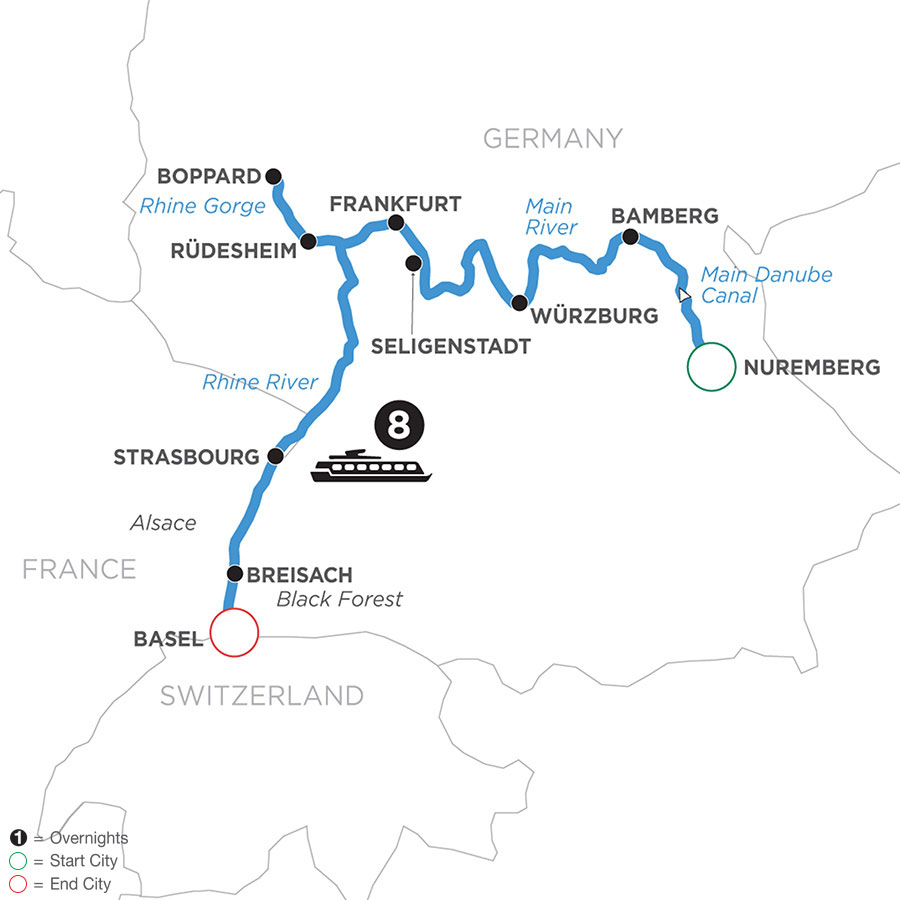 River Cruise Map of German Grandeur (Westbound)