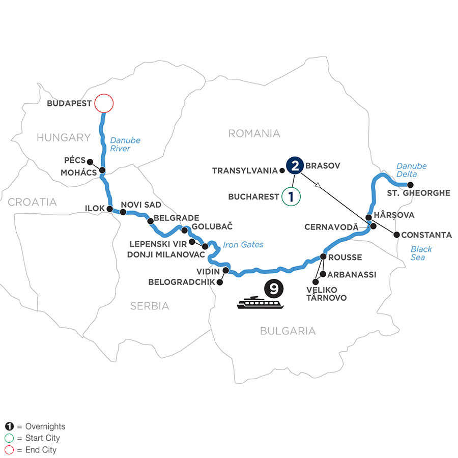 River Cruise Map of The Danube from the Black Sea to Budapest with 2 Nights in Transylvania