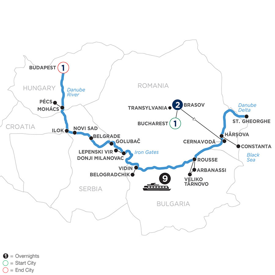 River Cruise Map of The Danube from the Black Sea to Budapest with 2 Nights in Transylvania & 1 Night in Budapest