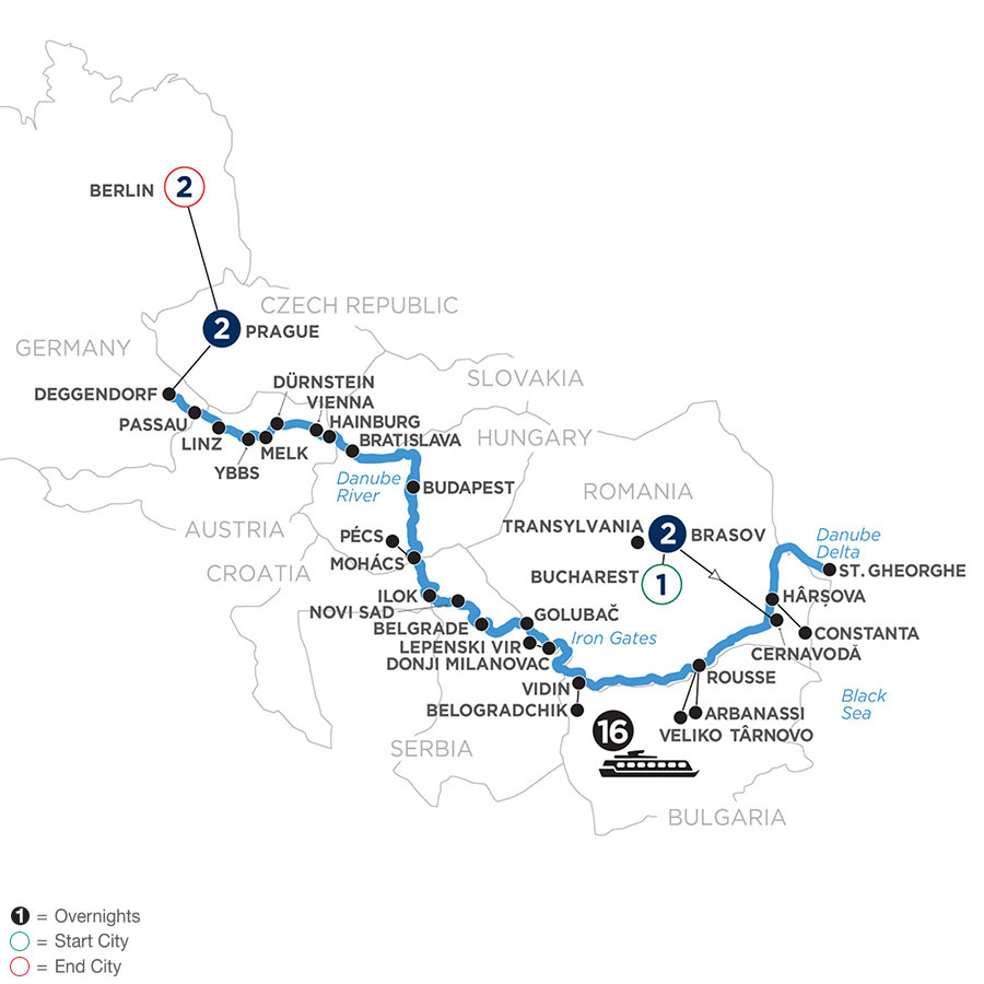 River Cruise Map of The Danube from the Black Sea to Germany with 2 Nights in Transylvania, 2 Nights in Prague & 2 Nights in Berlin