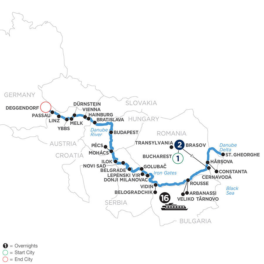 River Cruise Map of The Danube from the Black Sea to Germany with 2 Nights in Transylvania