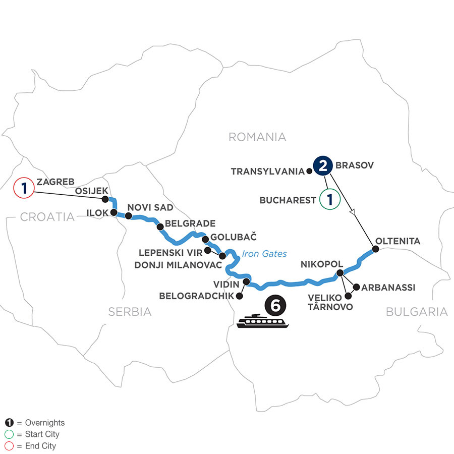 River Cruise Map of Balkan Odyssey with 2 Nights in Transylvania