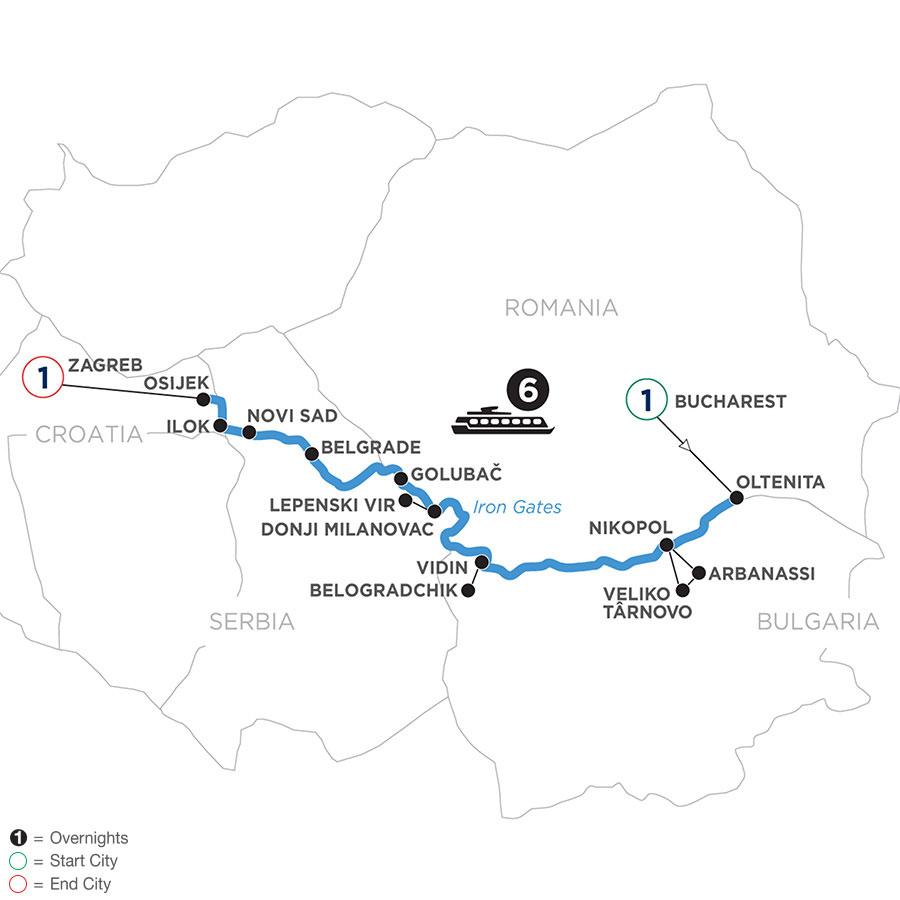 River Cruise Map of Balkan Odyssey