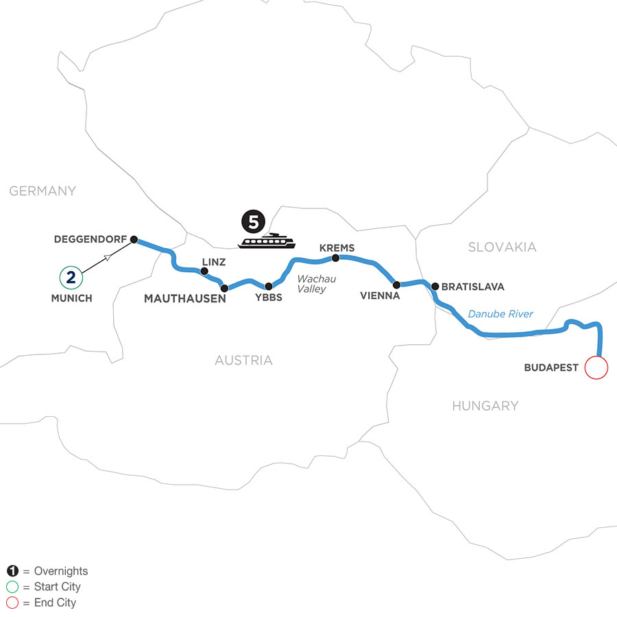 River Cruise Map of Danube Symphony with 2 Nights in Munich (Eastbound)