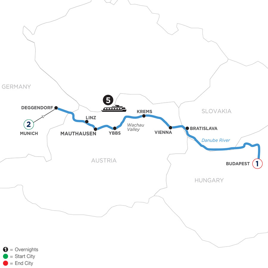 River Cruise Map of Danube Symphony with 2 Nights in Munich & 1 Night in Budapest (Eastbound)