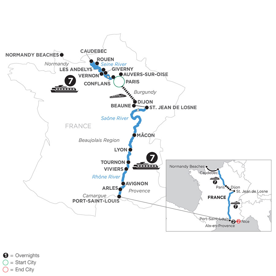 River Cruise Map of Grand France with 2 Nights in Aix-en-Provence & 2 Nights in Nice (Southbound)