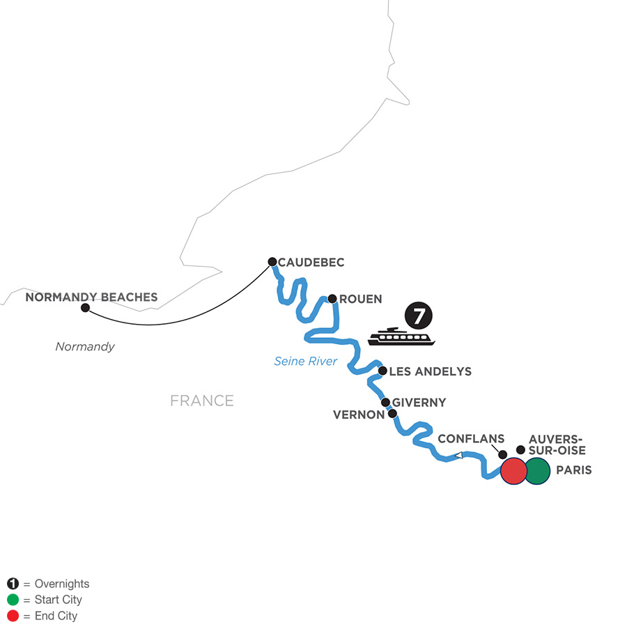 River Cruise Map of Paris to Normandy WWII Remembrance & History Cruise