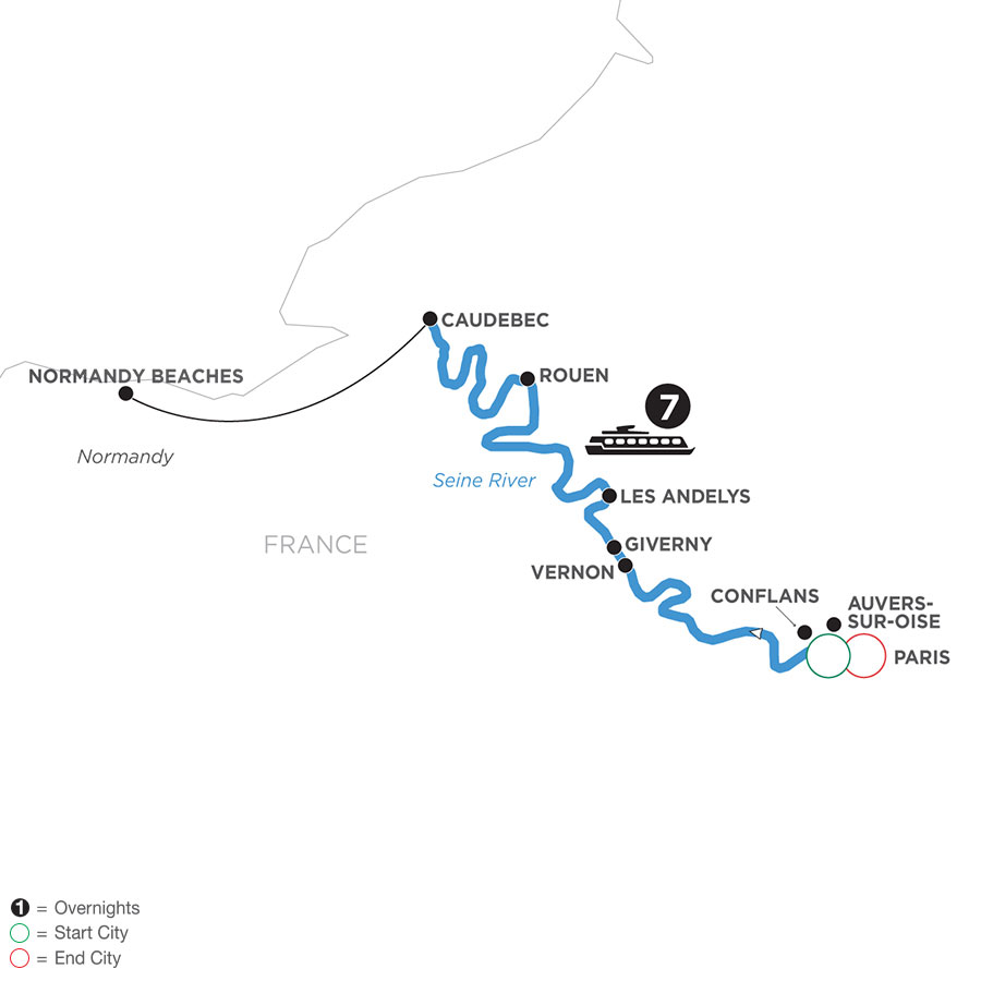 River Cruise Map of Paris to Normandy