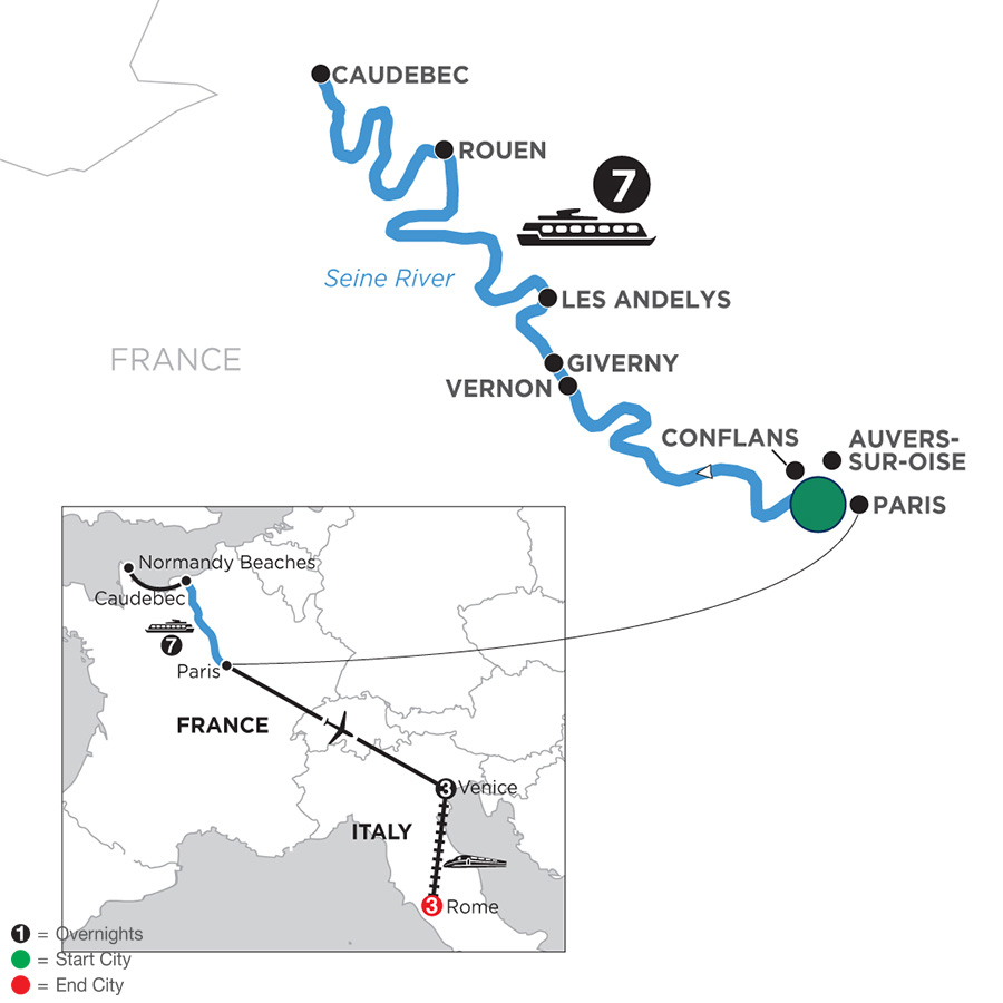 River Cruise Map of Paris to Normandy WWII Remembrance & History Cruise with 3 Nights in Venice & 3 Nights in Rome