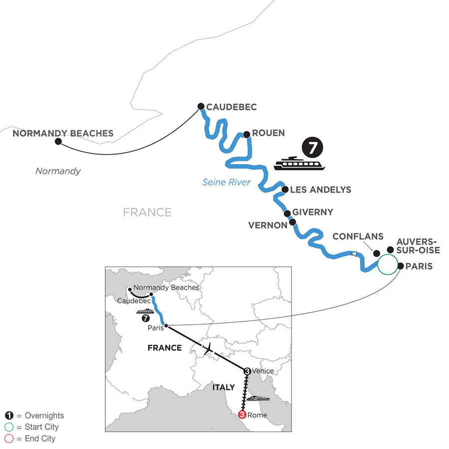 River Cruise Map of Paris to Normandy with 3 Nights in Venice & 3 Nights in Rome