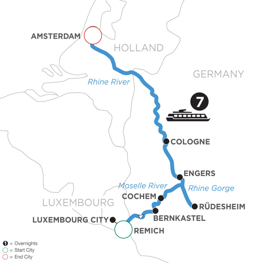 River Cruise Map of The Rhine & Moselle: Canals, Vineyards and Castles