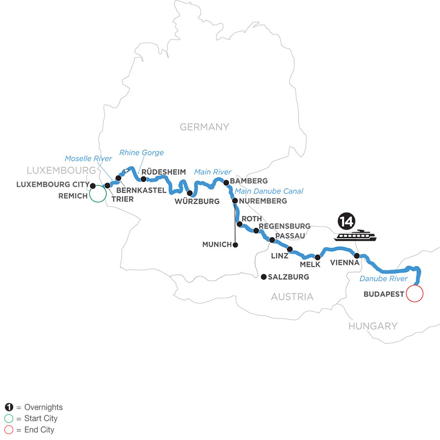 River Cruise Map of Jewels of Central Europe with Jewish Heritage (Eastbound)