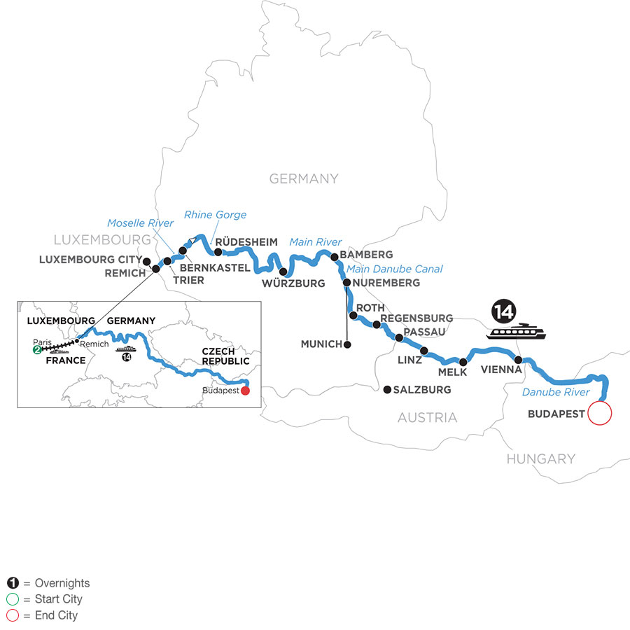 River Cruise Map of Jewels of Central Europe with 2 Nights in Paris with Jewish Heritage (Eastbound)