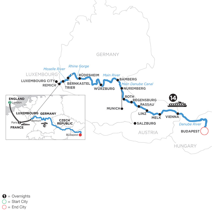 River Cruise Map of Jewels of Central Europe with 2 Nights in London & 2 Nights in Paris with Jewish Heritage (Eastbound)