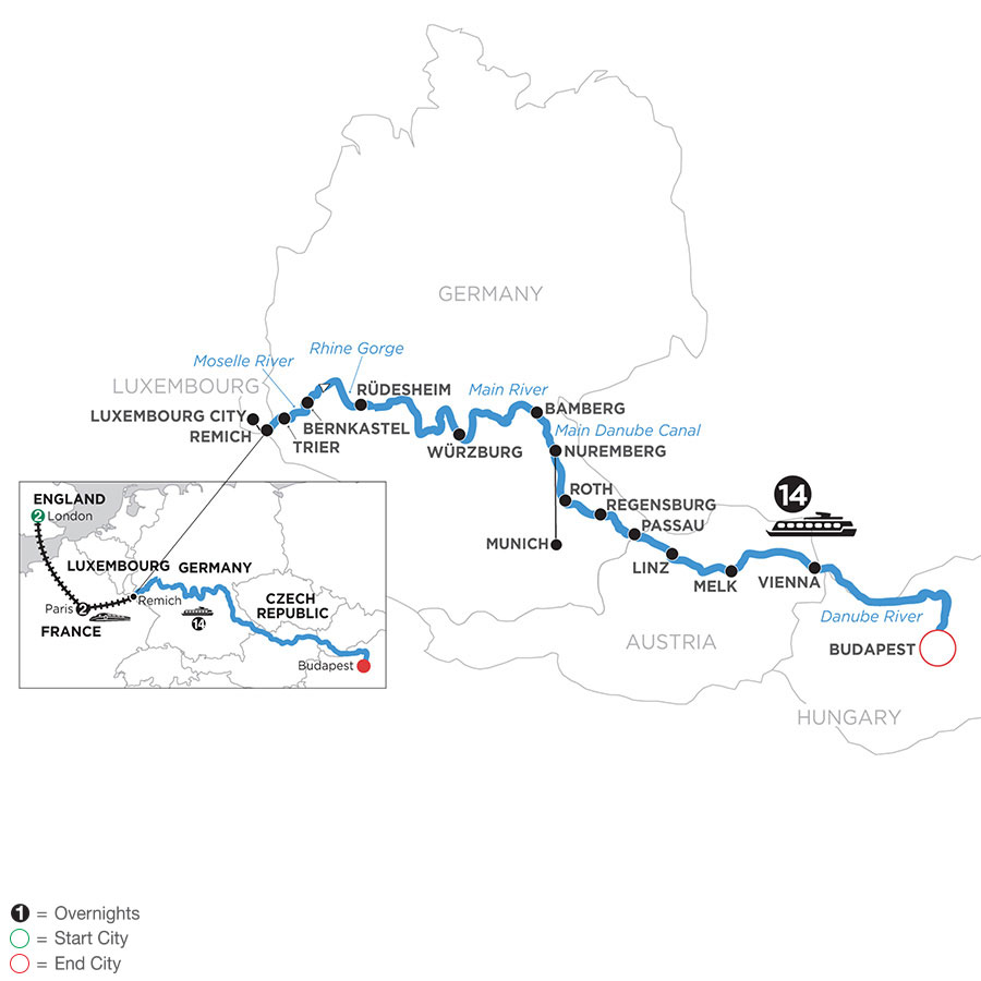 River Cruise Map of Jewels of Central Europe with 2 Nights in London & 2 Nights in Paris (Eastbound)
