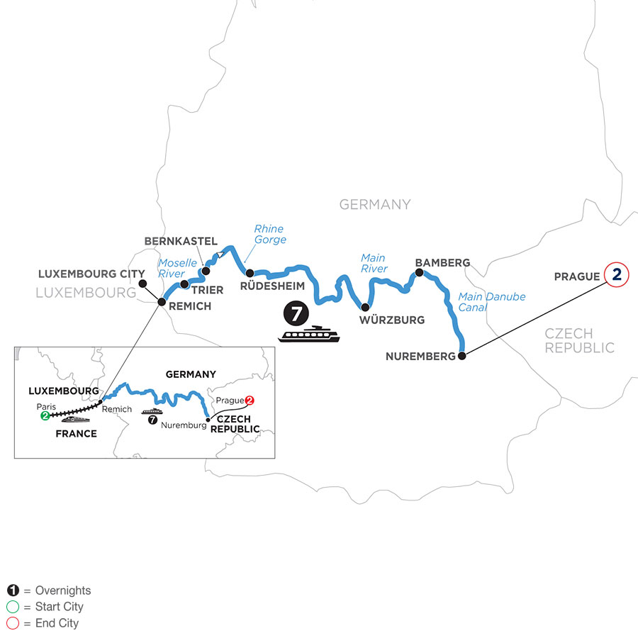 River Cruise Map of Once upon Three Rivers: the Rhine, Moselle & Main with 2 nights in Paris and 2 nights in Prague