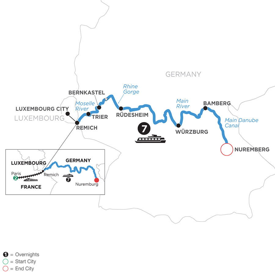 River Cruise Map of Once upon Three Rivers: the Rhine, Moselle & Main with 2 nights in Paris