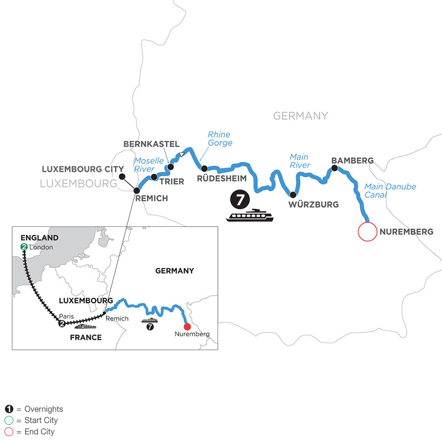 River Cruise Map of Once upon Three Rivers: the Rhine, Moselle & Main with 2 nights in London and 2 nights in Paris