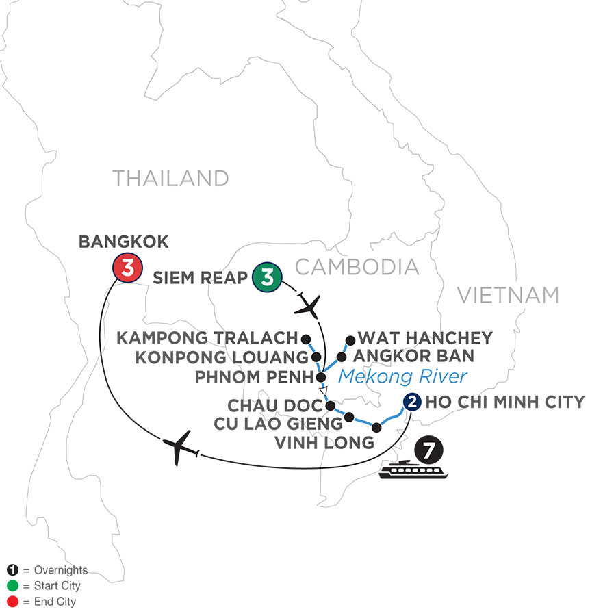 River Cruise Map of Fascinating Vietnam, Cambodia & the Mekong River with Bangkok (Southbound)