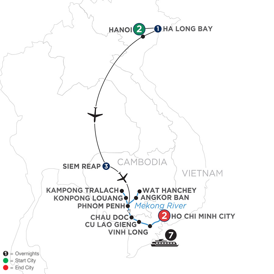 River Cruise Map of Fascinating Vietnam, Cambodia & the Mekong River with Hanoi & Ha Long Bay (Southbound)