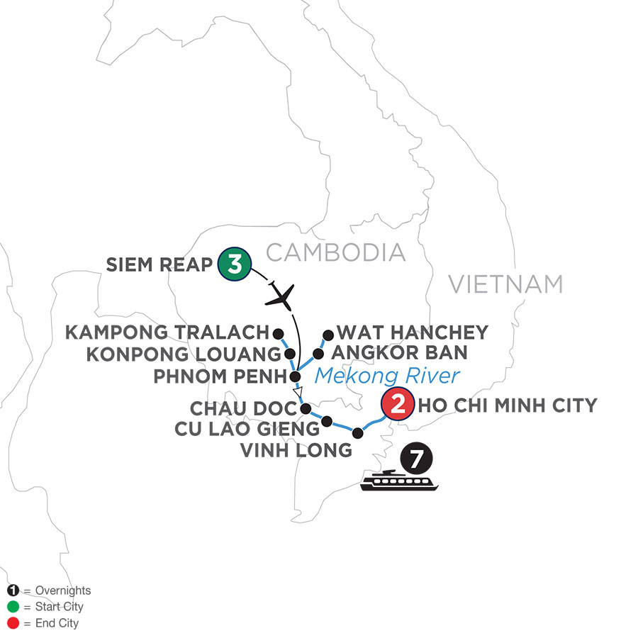 River Cruise Map of Fascinating Vietnam, Cambodia & the Mekong River (Southbound)
