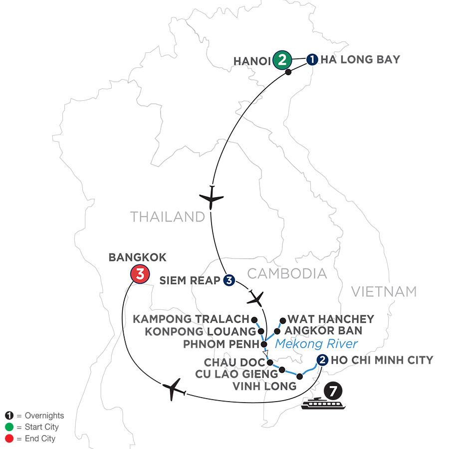 River Cruise Map of Fascinating Vietnam, Cambodia & the Mekong River with Hanoi, Ha Long Bay & Bangkok (Southbound)