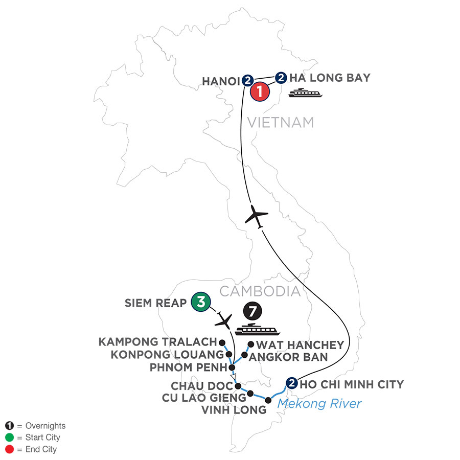 River Cruise Map of The Heart of Cambodia & Vietnam (Southbound)