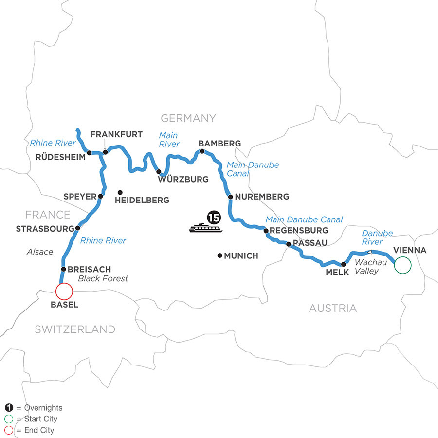 River Cruise Map of Christmastime from Vienna to Basel