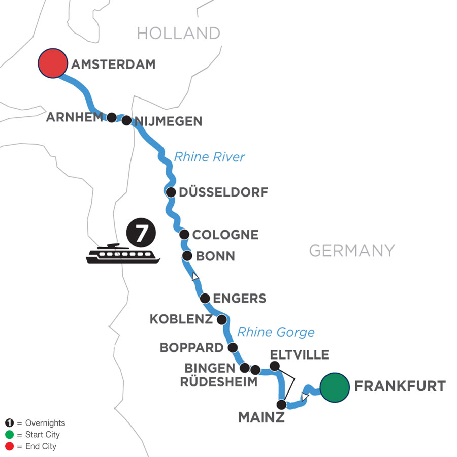 River Cruise Map of Active & Discovery on the Rhine (Northbound)