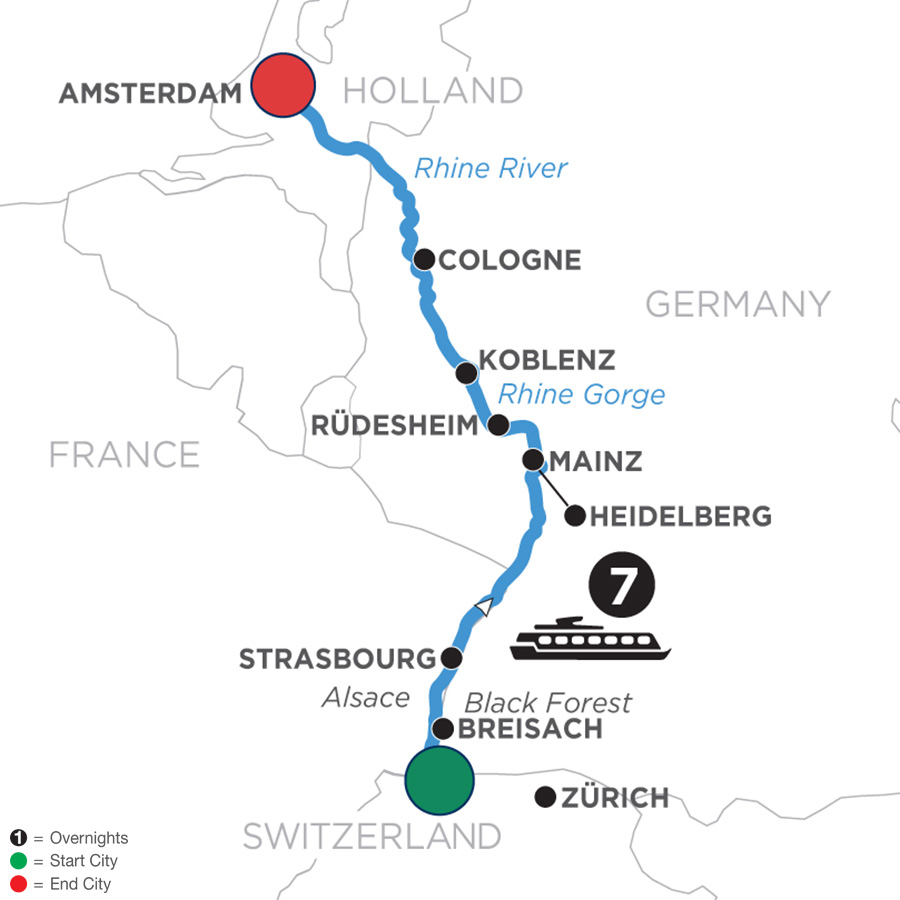 River Cruise Map of Romantic Rhine with Jewish Heritage (Northbound)