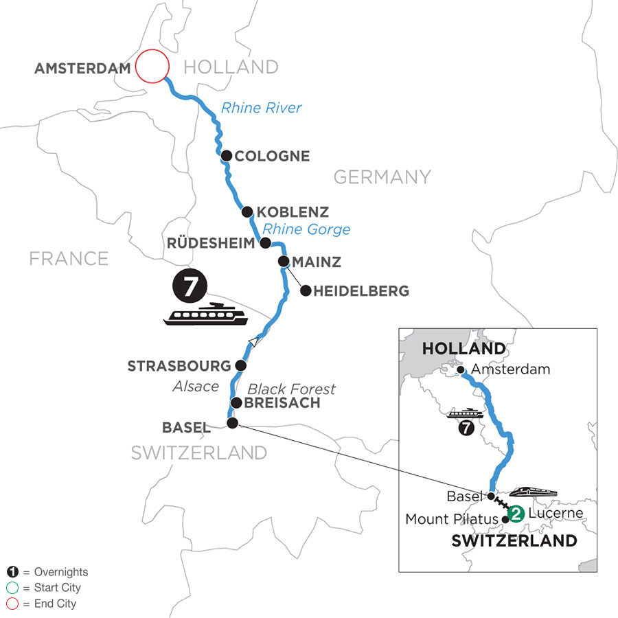 River Cruise Map of Romantic Rhine with 2 Nights in Lucerne (Northbound)