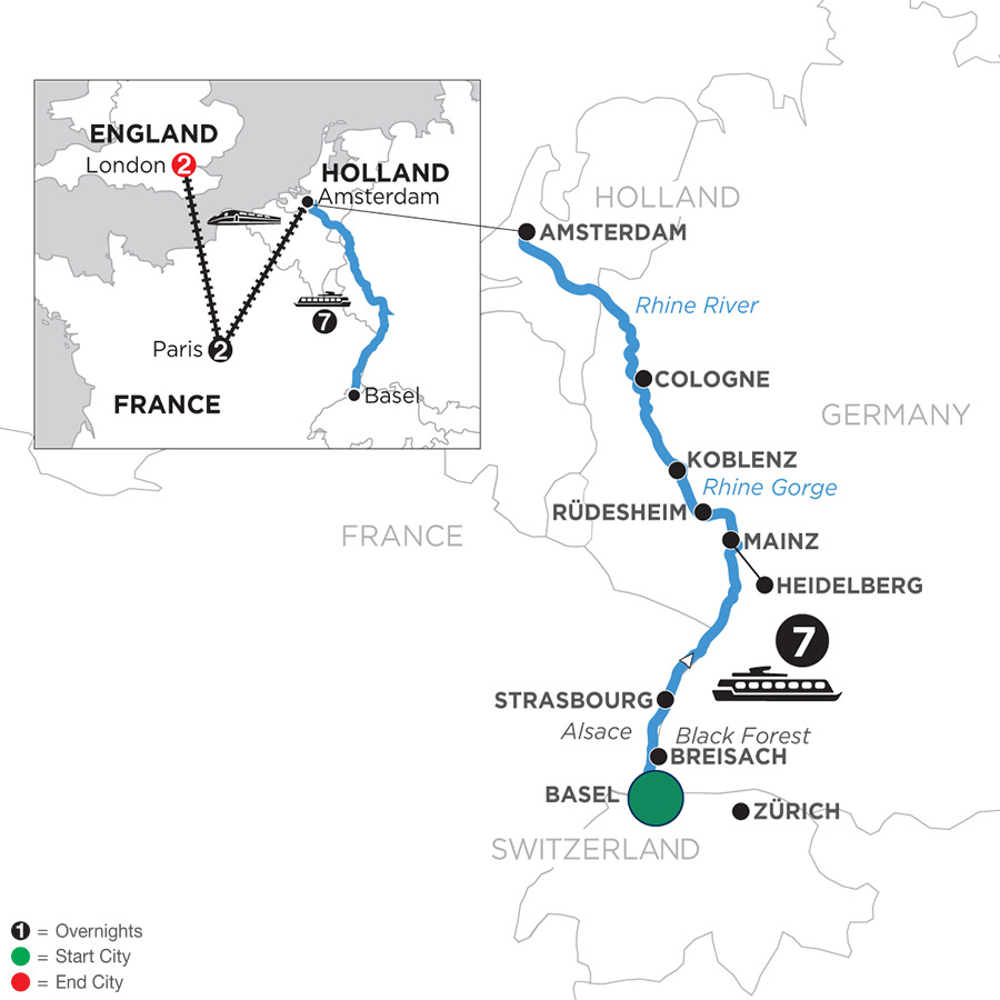 River Cruise Map of Romantic Rhine with 2 Nights in Paris & 2 Nights in London with Jewish Heritage (Northbound)