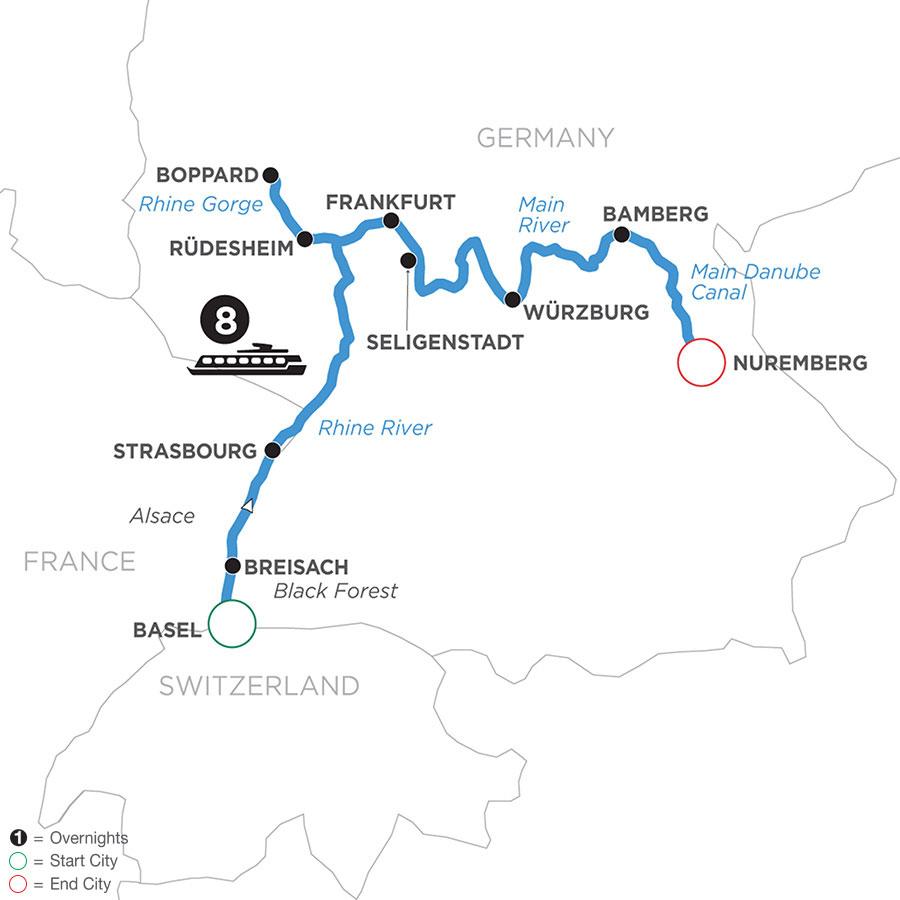 River Cruise Map of German Grandeur (Eastbound)