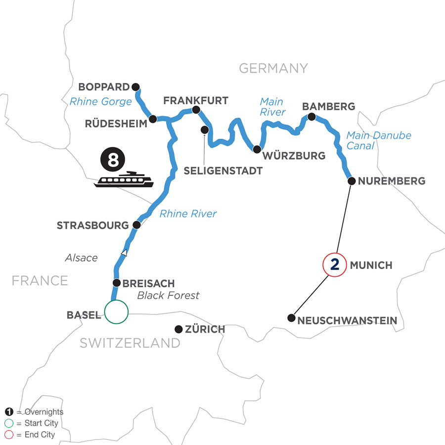 River Cruise Map of German Grandeur with 2 Nights in Munich for Beer Enthusiasts (Eastbound)