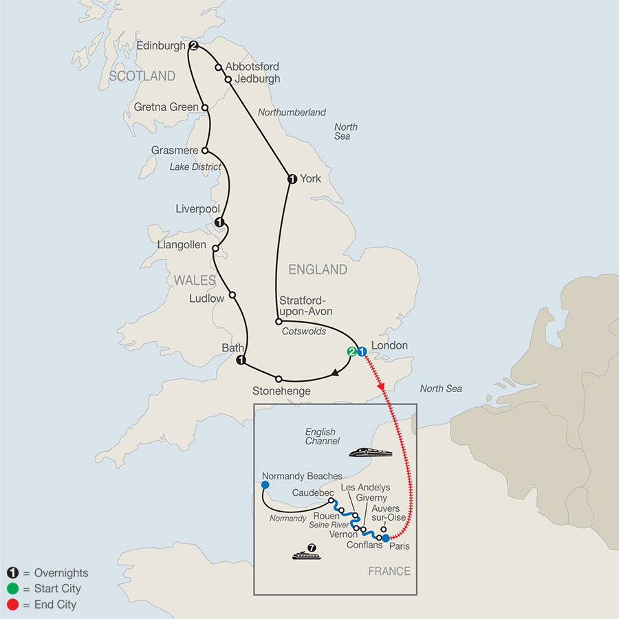 River Cruise Map of Britain Sampler with Paris to Normandy