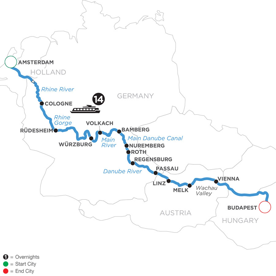 River Cruise Map of Magnificent Europe