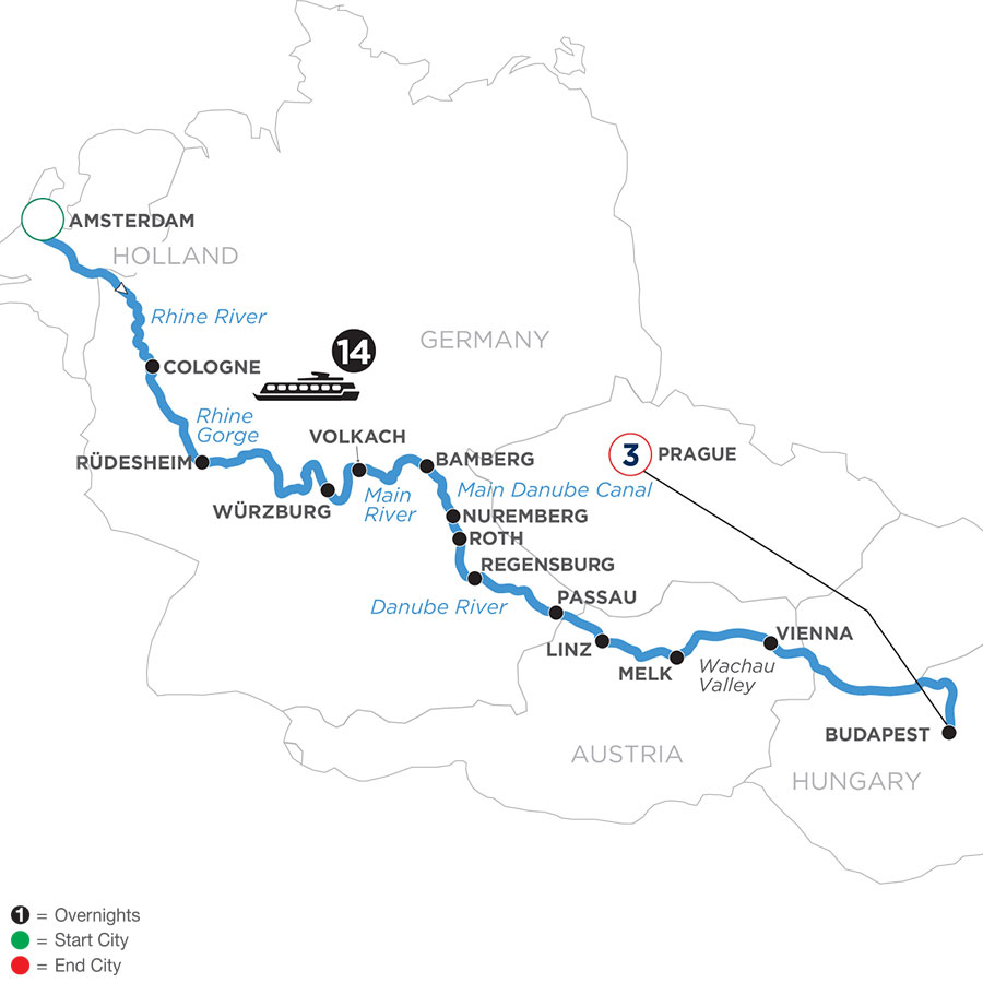River Cruise Map of Magnificent Europe with 3 Nights in Prague