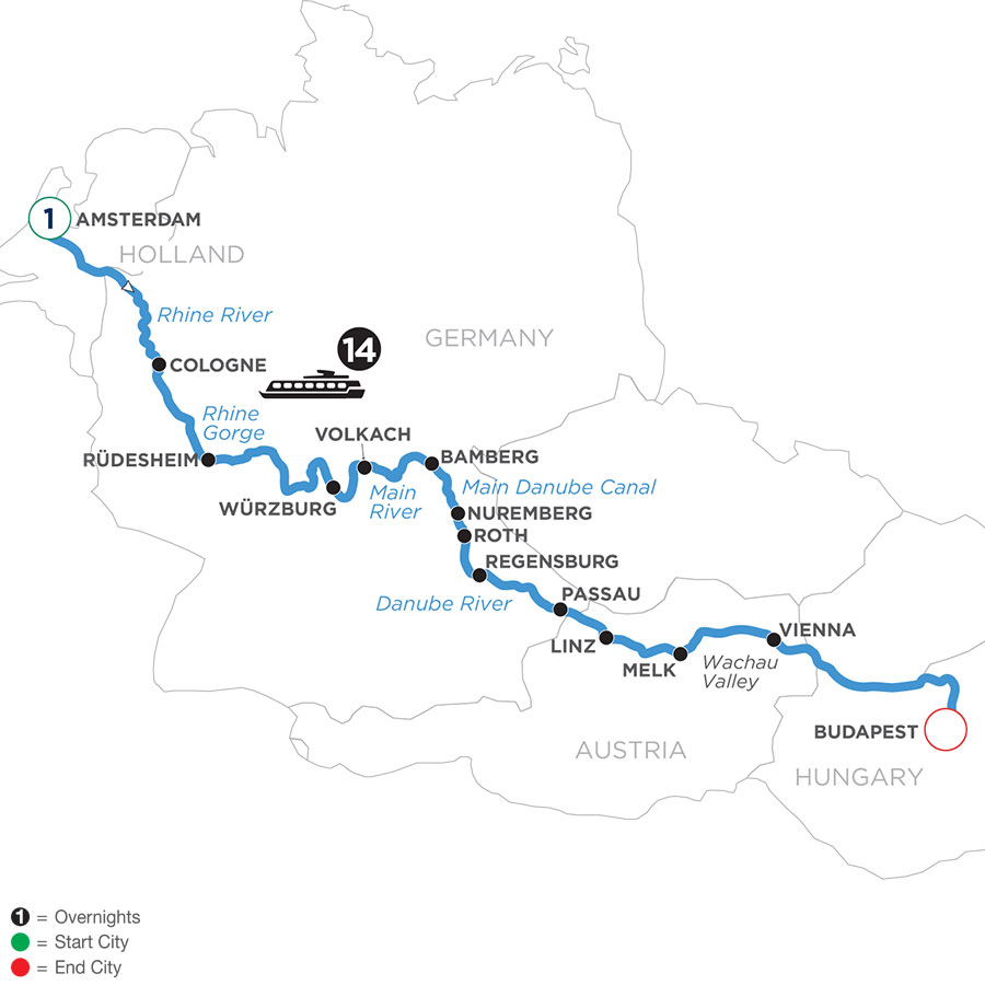 River Cruise Map of Magnificent Europe with 1 Night in Amsterdam