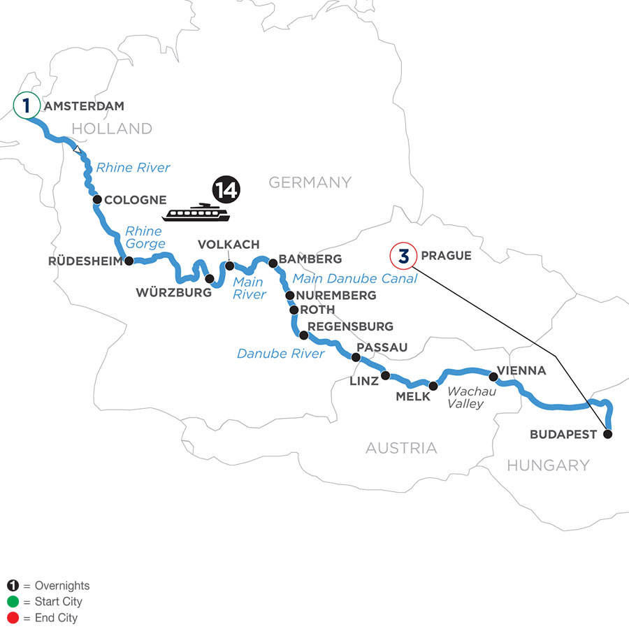 River Cruise Map of Magnificent Europe with 1 Night in Amsterdam & 3 Nights in Prague