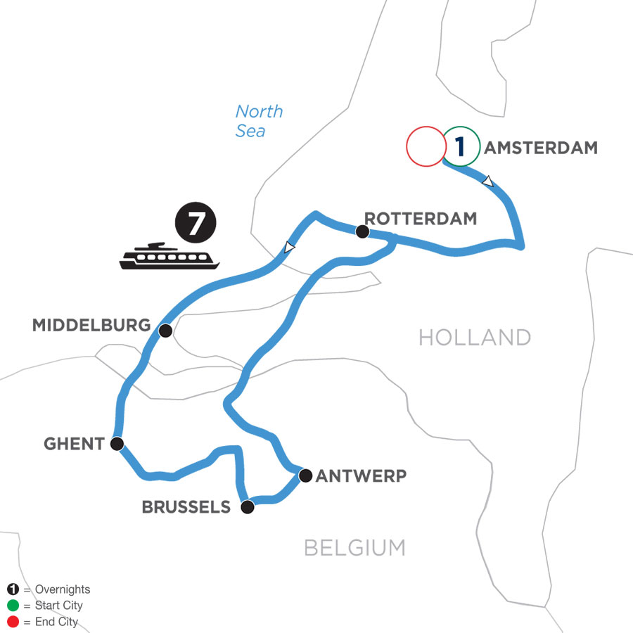 River Cruise Map of Active & Discovery in Holland & Belgium with 1 Night in Amsterdam