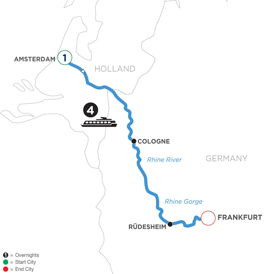 River Cruise Map of A Taste of the Rhine with 1 Night in Amsterdam (Southbound)