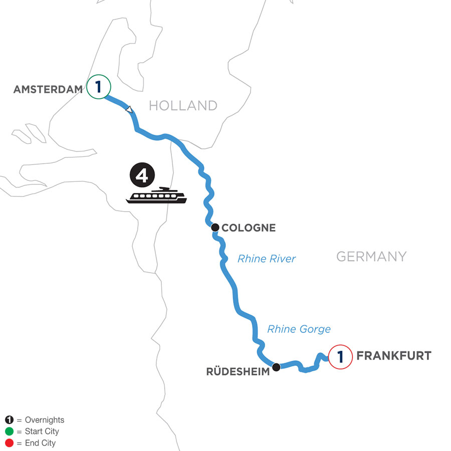 River Cruise Map of A Taste of the Rhine with 1 Night in Amsterdam & 2 Nights in Frankfurt (Southbound)