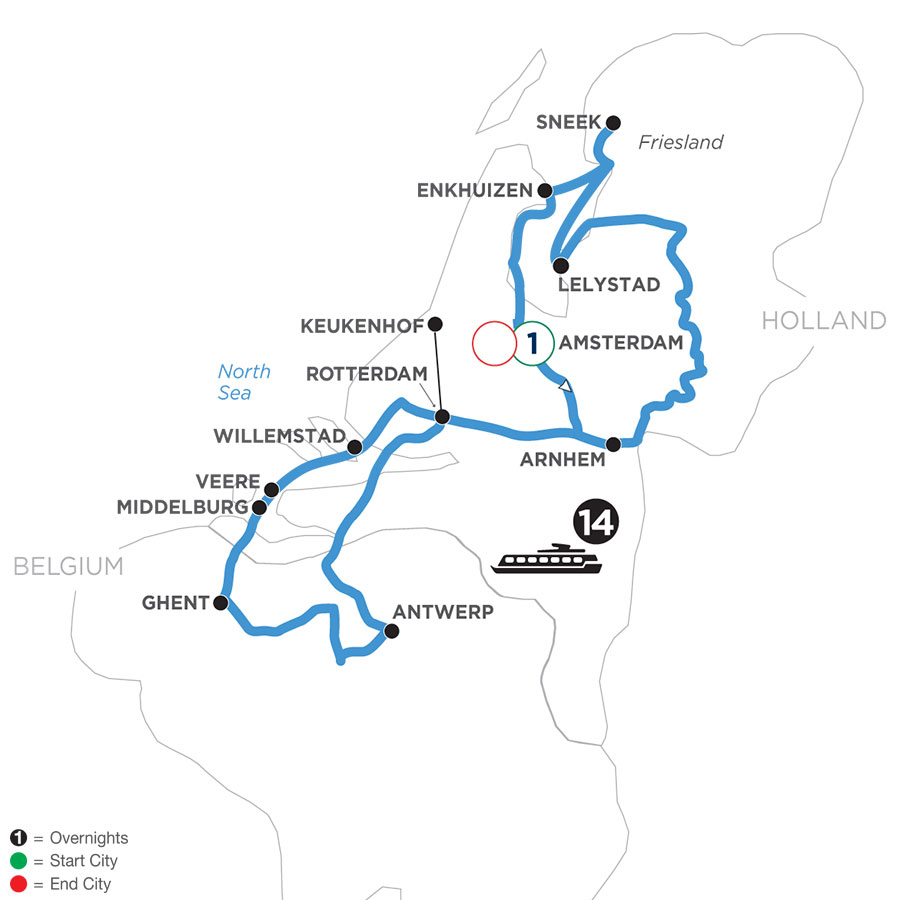 River Cruise Map of Springtime in Holland & Belgium with 1 Night in Amsterdam
